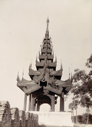 Carving in gable of Pyatthat over the South Gate in the West City Wall, [Mandalay]